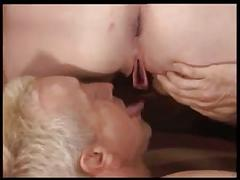 Chubby woman plays with two men
