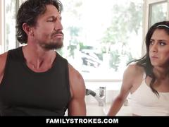 Familystrokes - step-daughter tricks dad into fucking her
