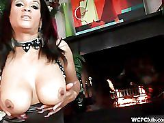 Busty ebony getting horny stripping and rubbing her wet cunt