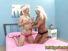 Two big tits lesbian play their toys
