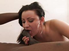 Young brunette messy facial from black stud