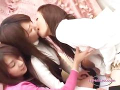 2 asian girls kissing spitting sucking tongues on...