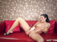 Vanessa jordin strips, masturbates and squirts.