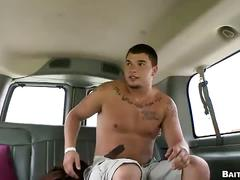 Steamy muscled hunk jumps in bait bus for hardcore anal shoving