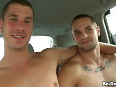 Amateur muscled hunks steamy throat bashing blowjob outdoors
