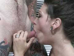 babe, blowjob, brunette, cumshot, alt porn, beauty, black hair, cum in mouth, deepthroat, face fucking, gagging, tattoos