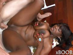 Very hot black bitch has a nice dick ride