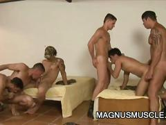 Hardcore military hunks in gangbang.