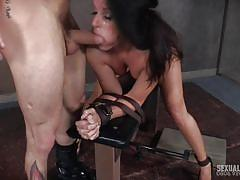 Milf gets her mouth and pussy pounded in bdsm threesome