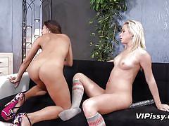 milf, lesbian, blonde, peeing, babe, dildo, pussy licking, golden shower, piss fetish, vipissy, adele xx, vinna reed