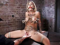 Blonde busty milf gets tortured and finger fucked