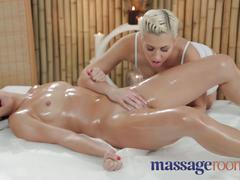 Massage rooms sexy young lesbians have oily fun