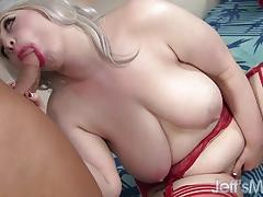 Hot blonde plumper gives head