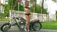 Cute teen displays her sensational body in public