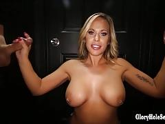 Kinky blonde cocksuckers slurping up cum in gloryhole