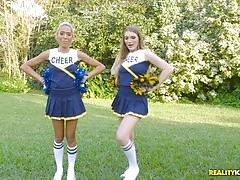 Hot babes amber gray and selena sosa cheerleader minge eating