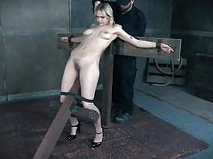 blonde, bdsm, babe, busty, tattooed, hairy pussy, device bondage, pussy clamps, infernal restraints, sailor luna