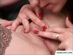 Lesbian lovers fucking with sex toys