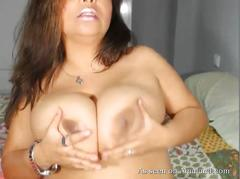 Chubby brunette latina masturbating on webcam