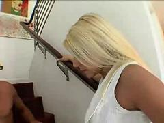 Blonde stairs fucking