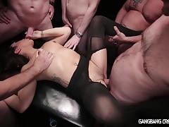 Gangbang girl gets rocked by five dicks