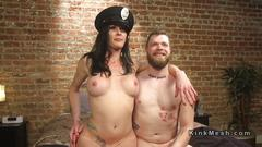Tranny rimming and anal fucking guy in uniform