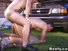 Mechanic hunks hammering ass outdoors