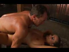 Brunette fucked hard in both holes with man slave