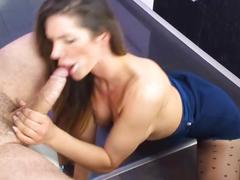 Great girl in blue skirt blowjob facial
