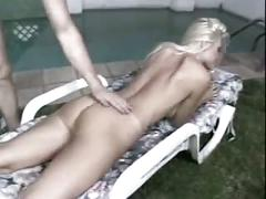 Smoking hot blonde sucks a fat cock and gets anal fucked on lounge chair in yard