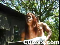 Ebony pussy pounded hard outdoor