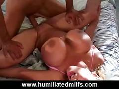 Huge tit milf gets throat fucked