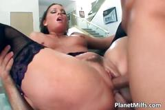 Slutty milf in nylons gets double