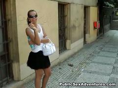 Fucking young brunette in the streets of prague