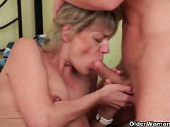 Mature milfs loves sucking and fucking hard cocks.