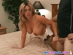 Busty chick strokes his small cock