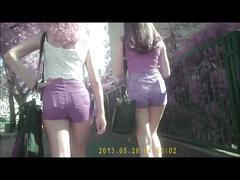 2 girls in short jeans - nice ass