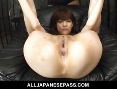 Megumi morita asian doll pokes her pussy with a fake...