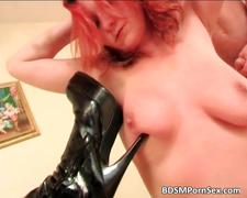 Slutty redhead gets wet pussy and tight