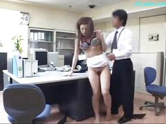 Office lady in skirt giving blowjob fucked on the...