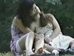 Amateur lesbians on public park