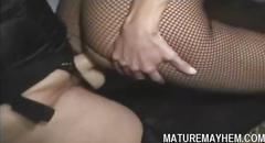 Filthy mature lesbian fucks a babe