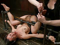 milf, bondage, bdsm, asian, vibrator, brunette, pussy fingering, bondage device, ball gag, restraints, metal frame, device bondage, kink, tia ling, tia ling, device bondage, kinky dollars