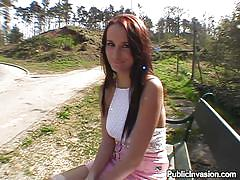 milf, money talks, redhead, outdoor, public, pov blowjob, long hair, nature, pick up, sucking finger, public invasion, claudia xxxx, claudia xxxx, public invasion, bang bros