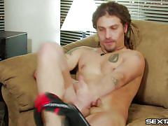 Pretty gay masturbates on couch