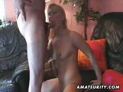 2 amateur chicks share 2 cocks with facial cumshot