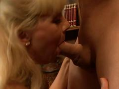 Hot naughty blonde milf gets cock in library.