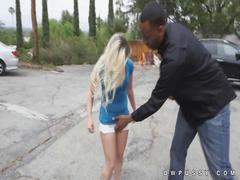 Alex little shows where black cock goes