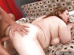 Big fat bitch gets her pussy covered in jizz