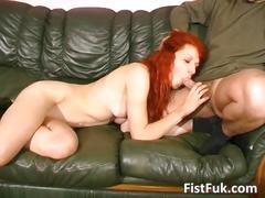 Big hard cock fucks redhead ass